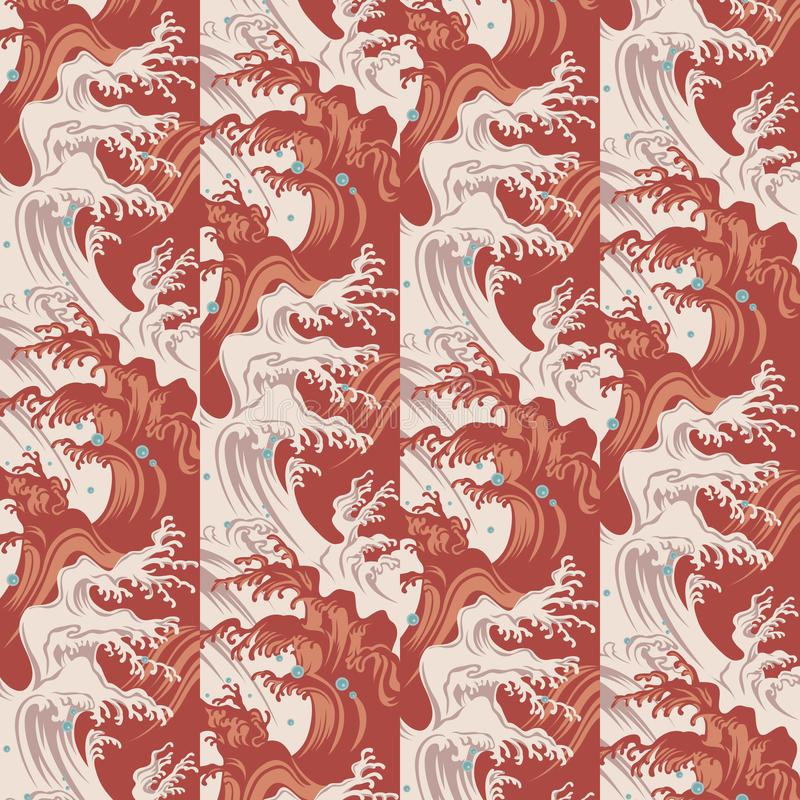 Japanese waves and water drops pattern royalty free illustration