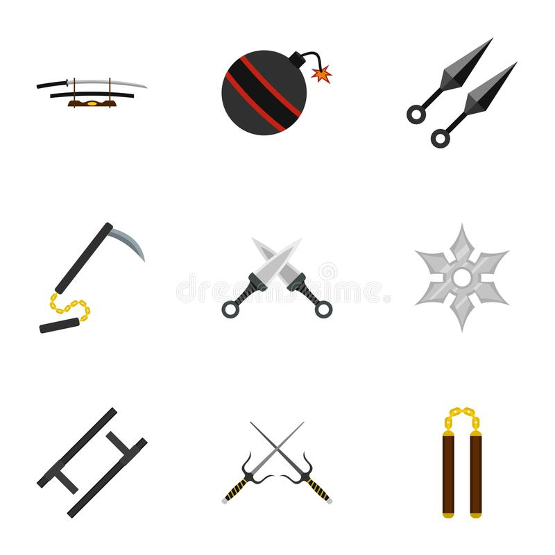 Japanese weapons icons set, flat style. Japanese weapons icons set. Flat set of 9 Japanese weapons vector icons for web isolated on white background vector illustration