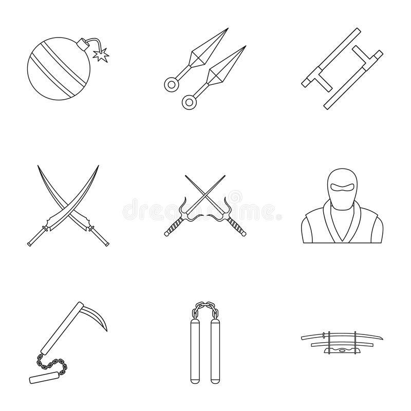 Japanese weapons icons set, outline style. Japanese weapons icons set. Outline set of 9 Japanese weapons vector icons for web isolated on white background stock illustration