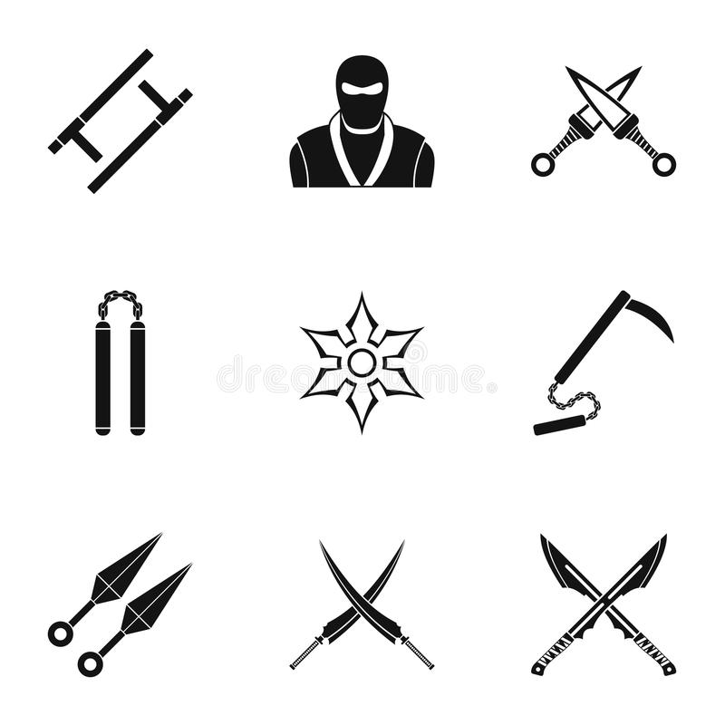 Japanese weapons icons set, simple style. Japanese weapons icons set. Simple set of 9 Japanese weapons vector icons for web isolated on white background stock illustration