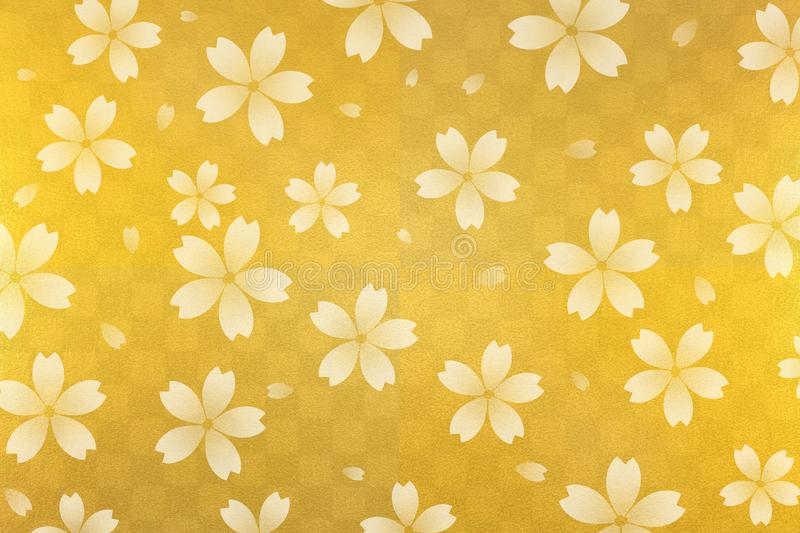 Japanese white cherry blossom abstract on gold checkered pattern paper background royalty free illustration