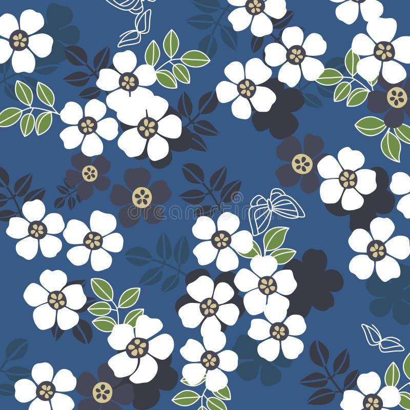 Japanese Vintage White Cherry Blossom Pattern On Blue Background