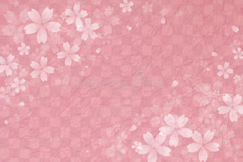 Japanese cherry blossom on pink checkered pattern paper background royalty free illustration