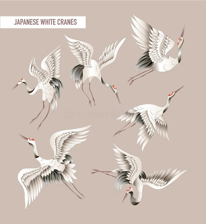Japanese white crane in batik style. Vector illustration. vector illustration