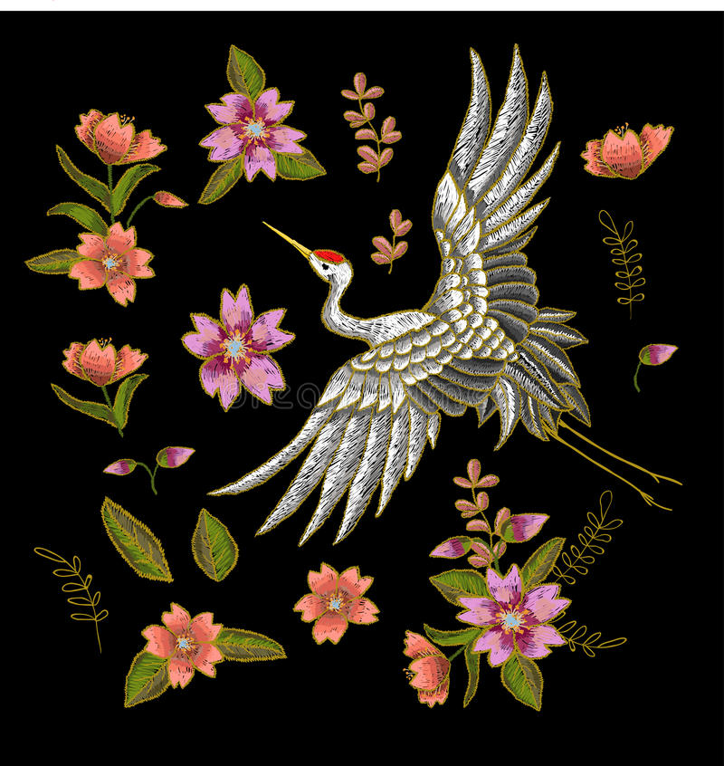 Japanese white crane and flowers elements. Embroidery vector. royalty free illustration