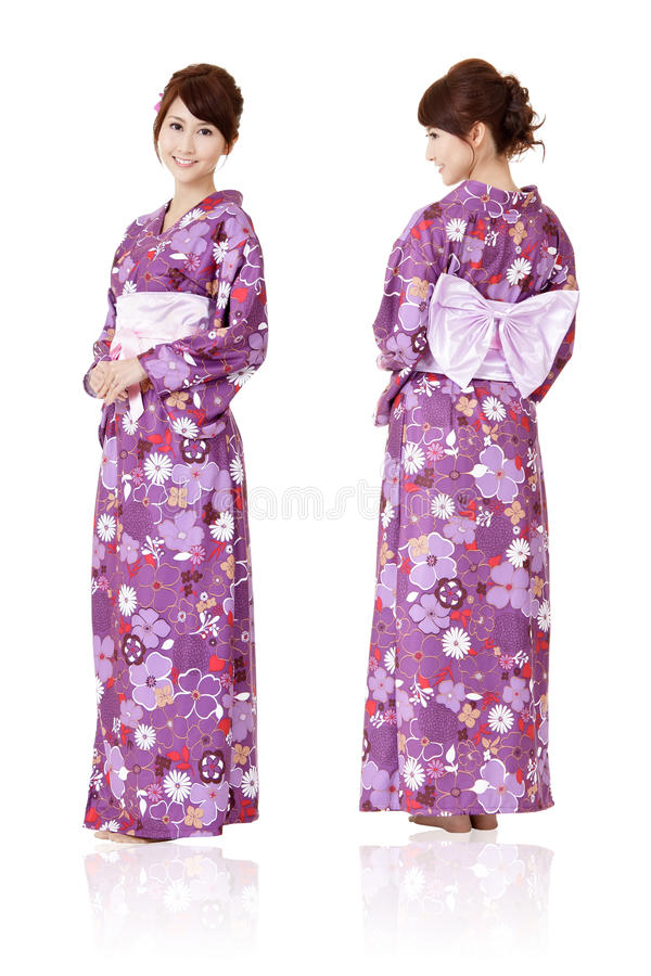 Japanese woman. In traditional clothes of Kimono with front and back view, full length portrait isolated on white background royalty free stock photo