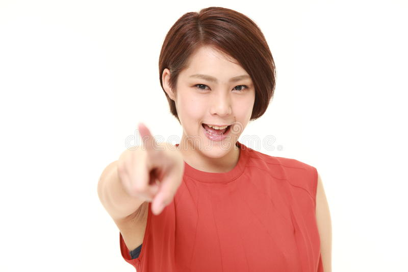 Japanese woman decided. Studio shot of young Japanese woman on white background stock images