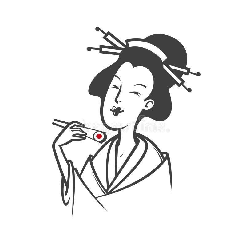 Japanese woman eating sushi. Beautiful Japanese woman eating sushi. Vector illustration stock illustration
