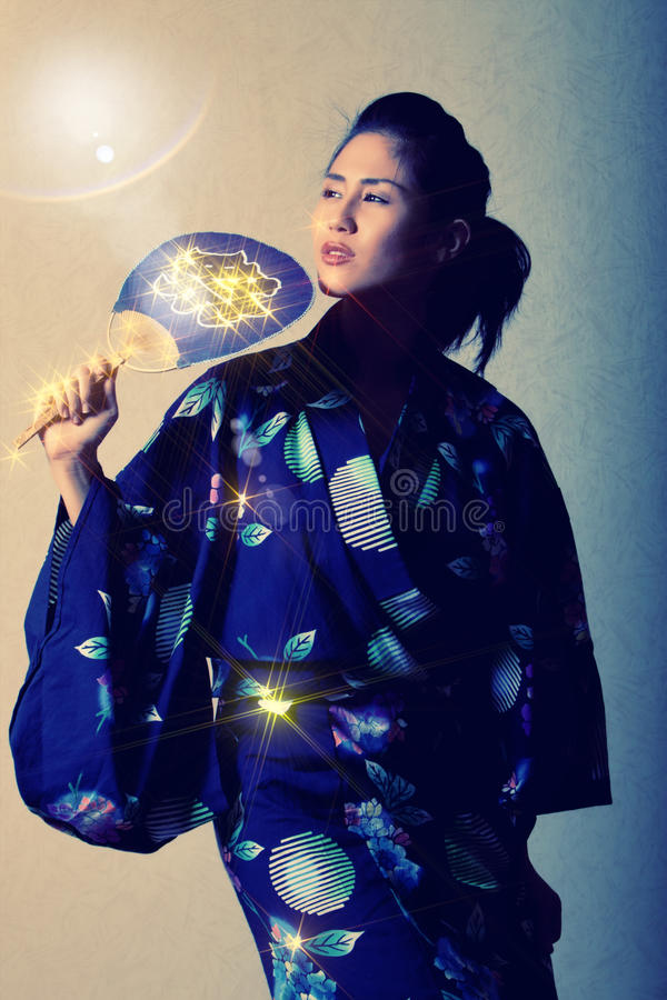 Japanese Woman In Kimono Royalty Free Stock Photography
