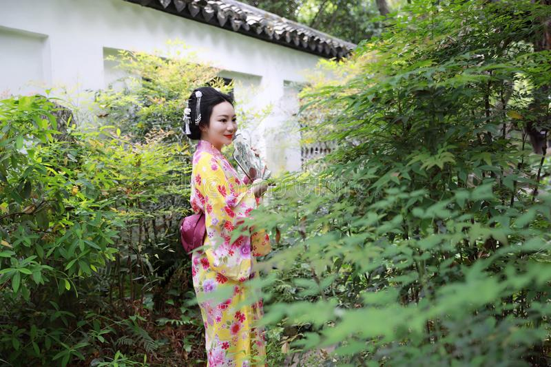 Traditional Asian Japanese beautiful Geisha woman wears kimono in a summer nature. Japanese woman with kimono Japanese bride smiling stand by bamboo in a spring stock photos