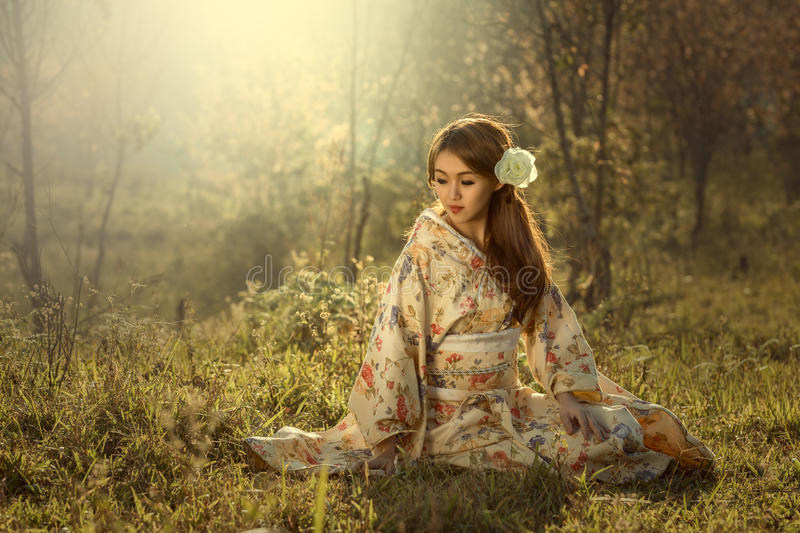 Japanese woman in kimono. Traditional dress of japan stock images
