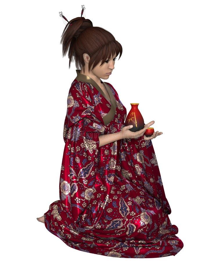 Download Japanese Woman With Saki Jug Stock Illustration - Image: 32450111