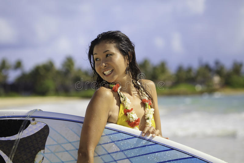 Download Japanese Woman With Surfboard Stock Image - Image: 19384769