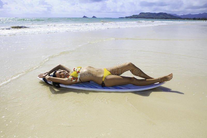 Download Japanese Woman With Surfboard Stock Image - Image: 19384793