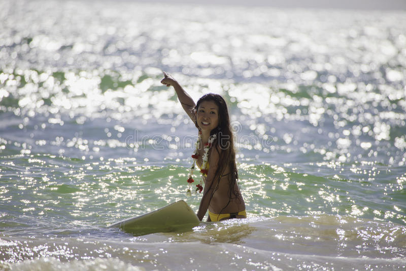 Download Japanese Woman Surfing In Hawaii Stock Image - Image: 19384715