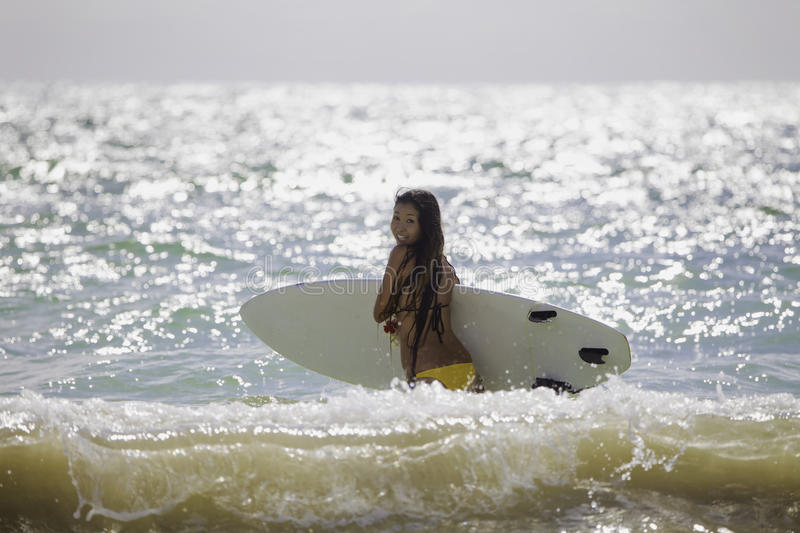 Download Japanese Woman Surfing In Hawaii Stock Photo - Image: 19384734