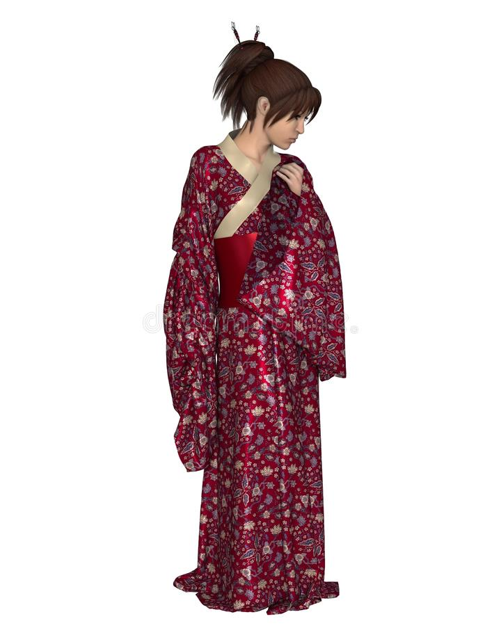 Japanese Woman Wearing A Red Kimono Royalty Free Stock Image