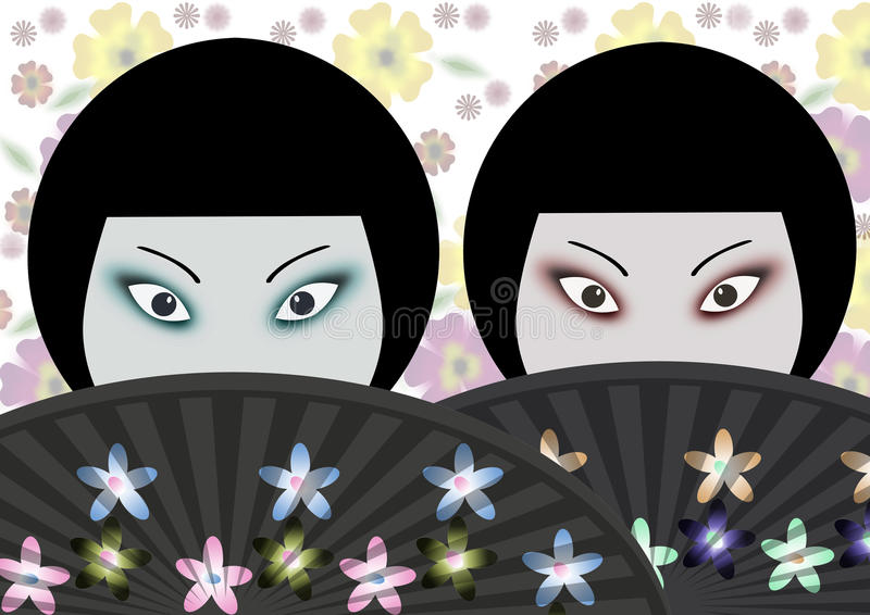 Download Japanese women stock illustration. Image of fans, culture - 20944531
