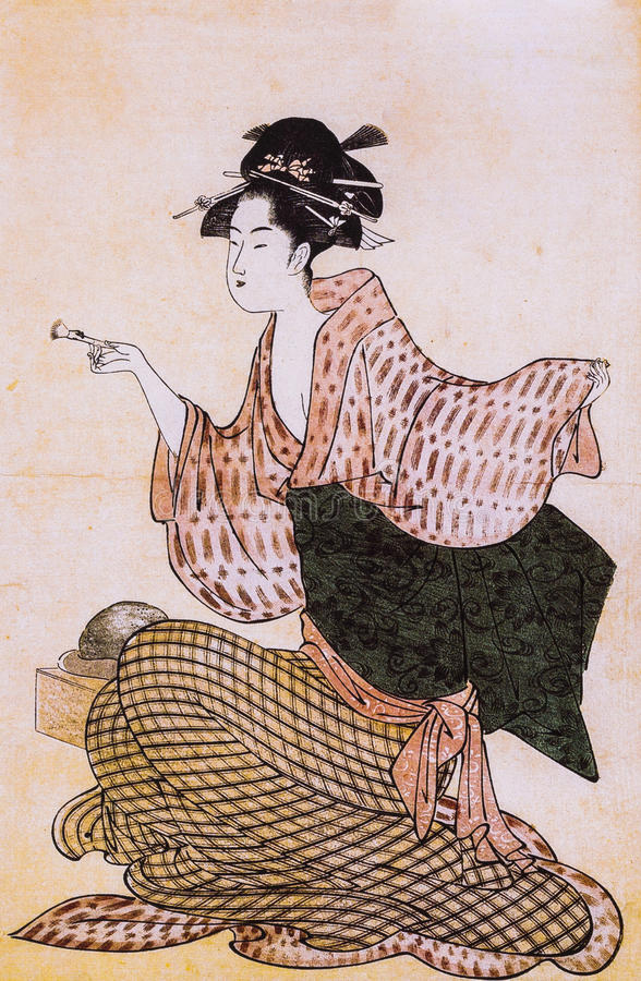 Japanese women in traditional dress. Japanese traditional painting form float world draw, many of them are described in the dress of the ancient traditional stock photos
