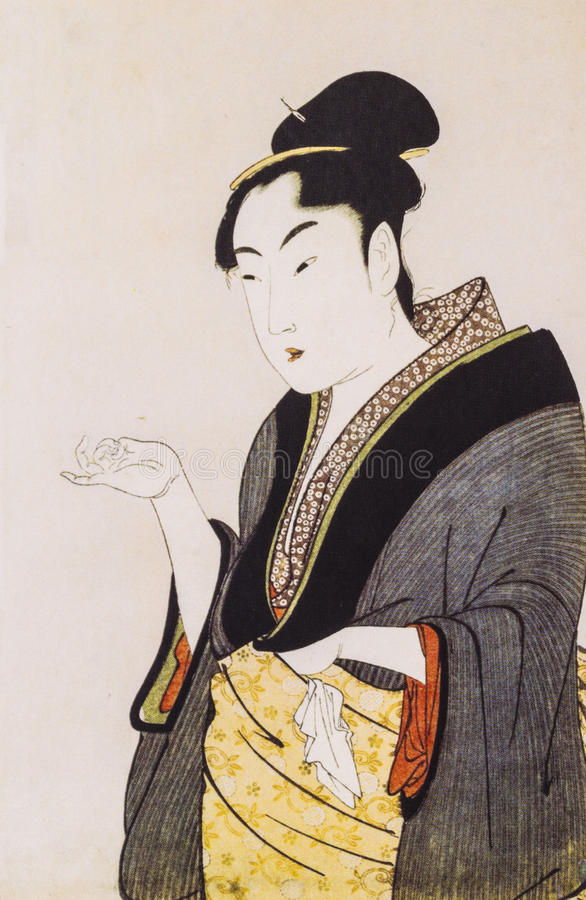 Japanese women in traditional dress. Japanese traditional painting form float world draw, many of them are described in the dress of the ancient traditional stock image