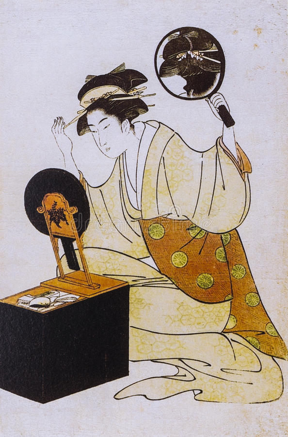 Japanese women in traditional dress. Japanese traditional painting form float world draw, many of them are described in the dress of the ancient traditional royalty free stock photography