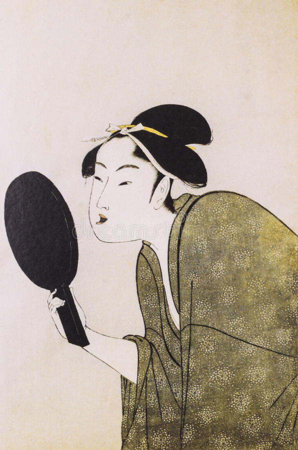 Japanese women in traditional dress. Japanese traditional painting form float world draw, many of them are described in the dress of the ancient traditional royalty free stock image