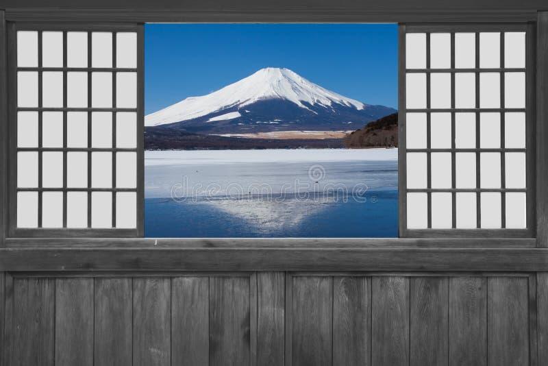 Japanese wood sliding window stock image