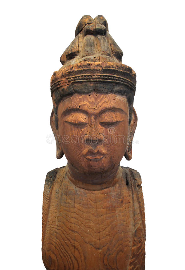 Japanese wooden Buddha statue isolated. royalty free stock image