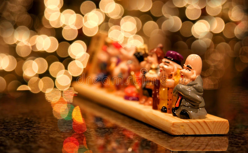 Japanese Wooden Carved Idols Royalty Free Stock Images