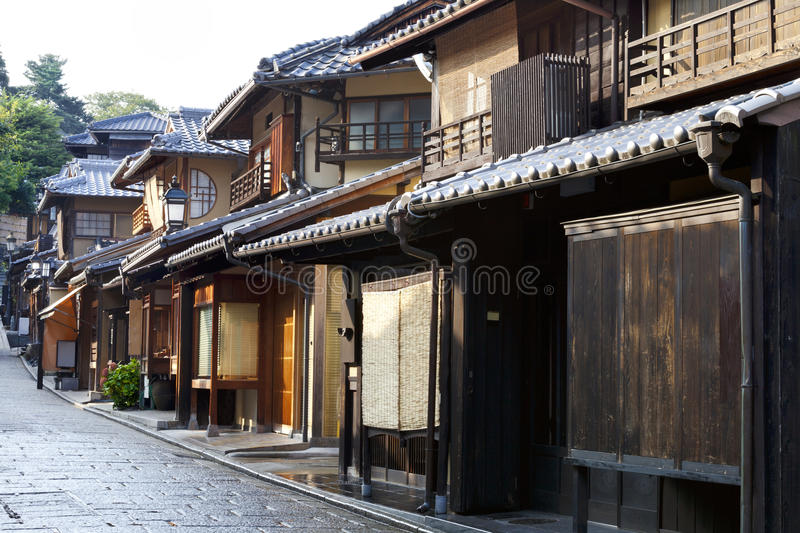 Japanese wooden houses on kyoto street royalty free stock image