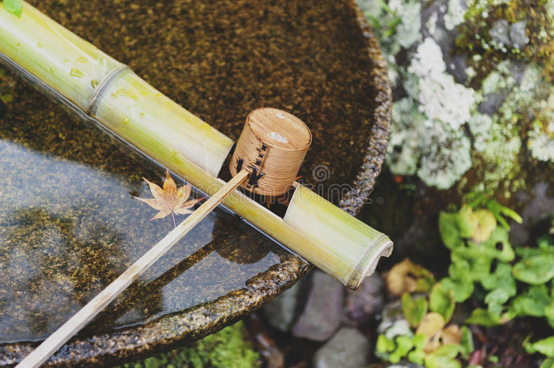 Japanese wooden purification dipper in a chozubachi or water basin used to rinse the hands in Japanese temples. Shrines, and gardens royalty free stock photo