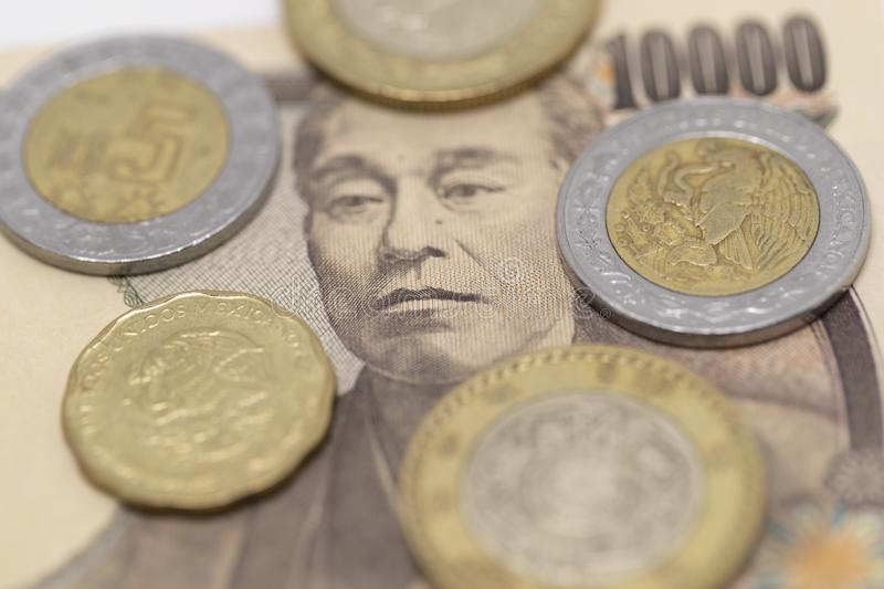 Japanese Yen and Mexican Peso royalty free stock images