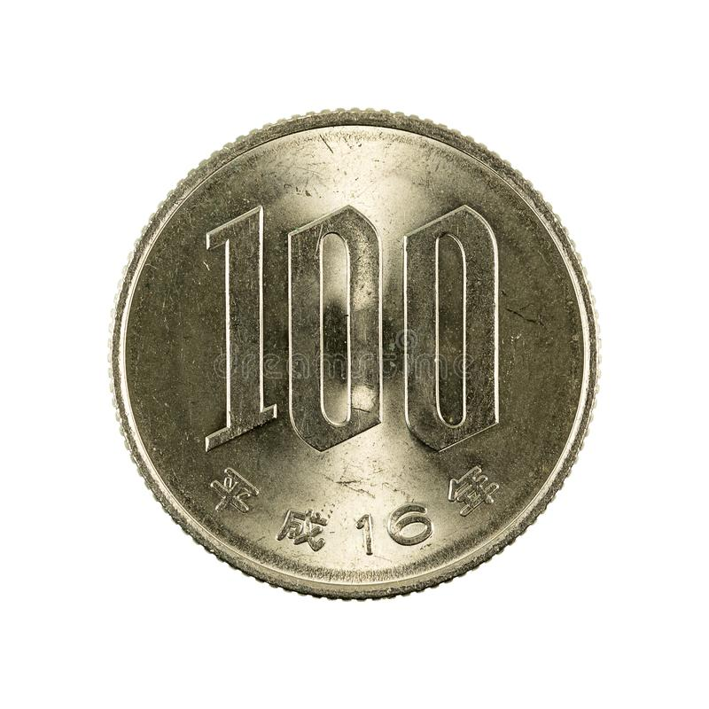 100 japanese yen coin obverse isolated on white background royalty free stock photo