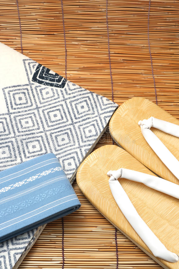 Japanese yukata and a band for men on bamboo blinds. Concept of Japanese summer stock image