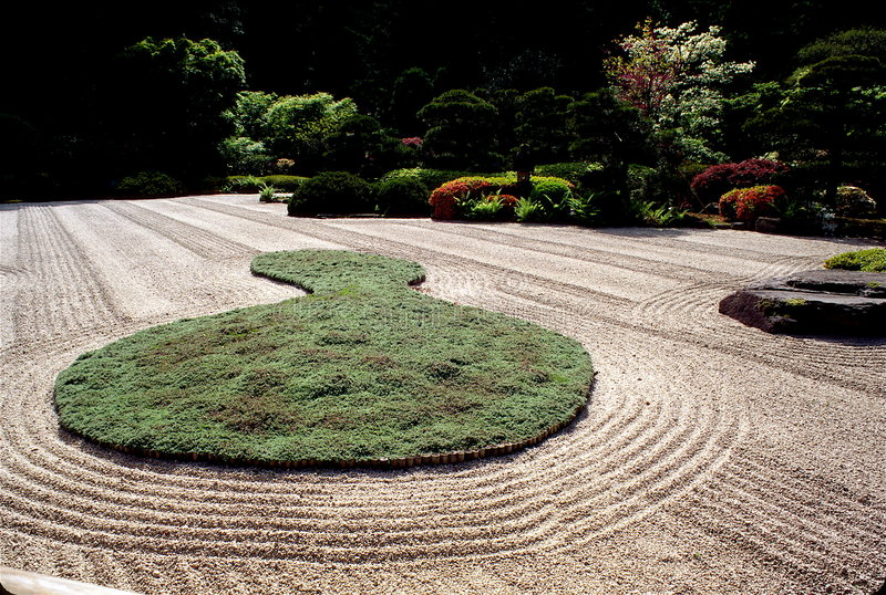 Japanese Zen Garden in Oregon royalty free stock images