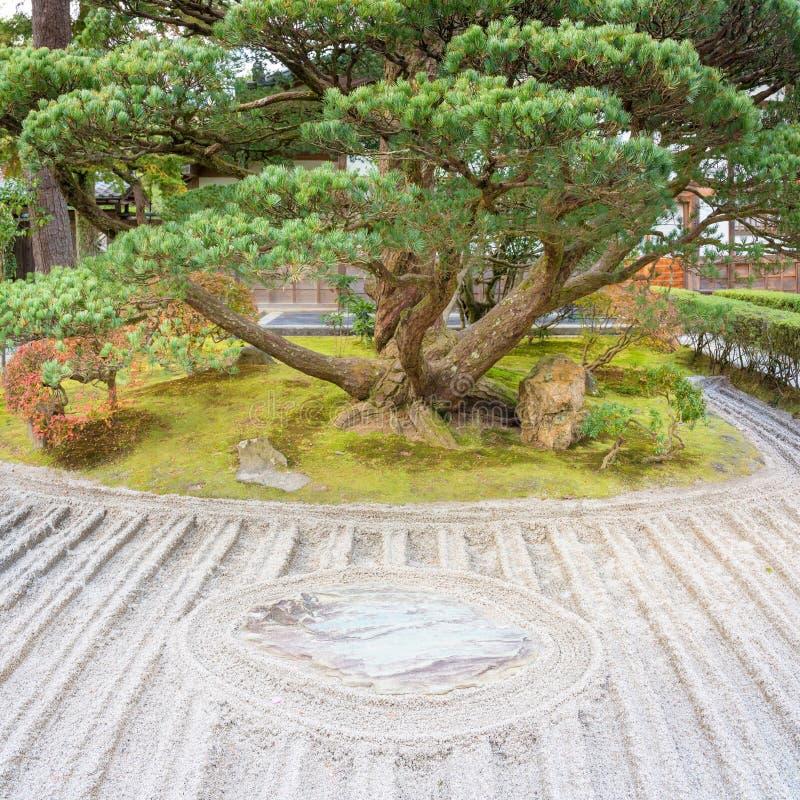 Japanese ZEN garden zen garden meditation stone in lines sand royalty free stock photography