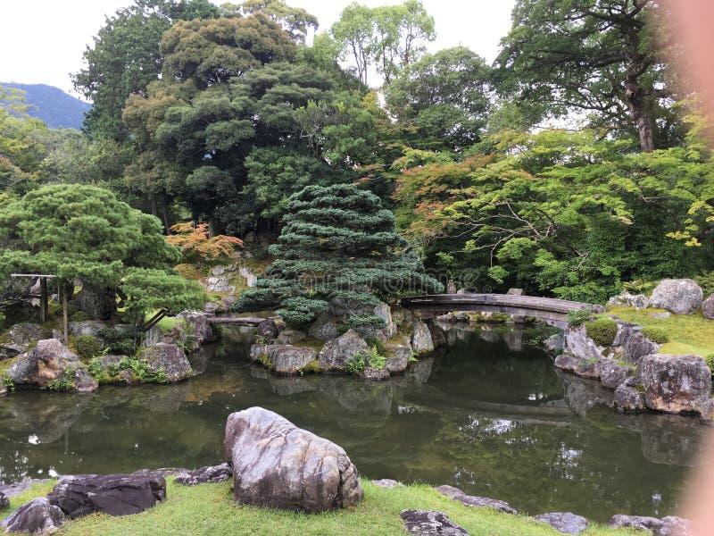 Japanese zen rock garden bridge at Daigo-ji temple, Kyoto. In summertime royalty free stock photos