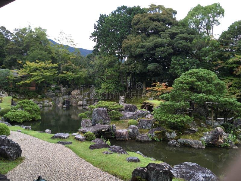 Japanese zen rock garden at Daigo-ji temple, Kyoto. In summertime royalty free stock photos