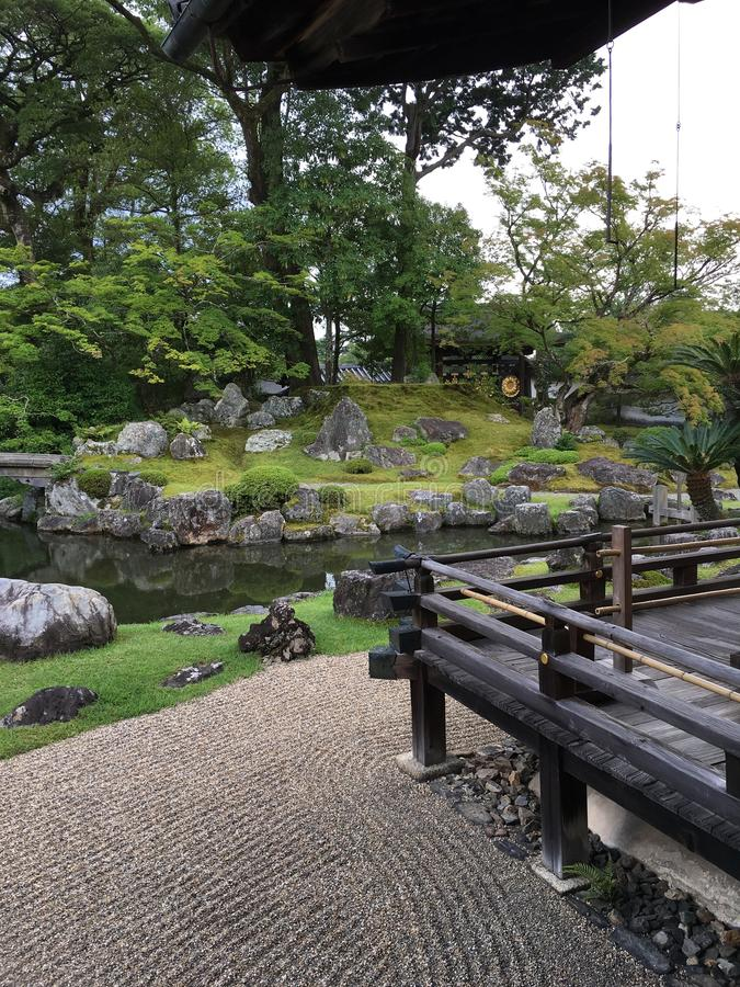 Japanese zen rock garden at Daigo-ji temple, Kyoto. In summertime stock photography