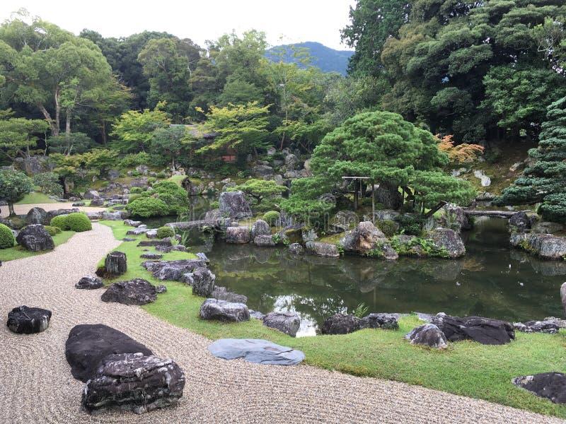 Japanese zen rock garden at Daigo-ji temple, Kyoto. In summertime royalty free stock images