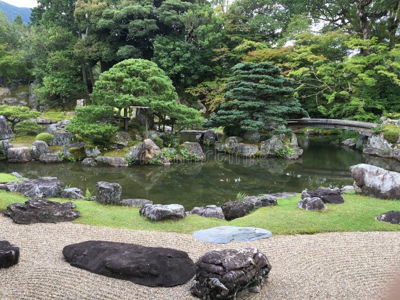 Japanese zen rock garden at Daigo-ji temple, Kyoto. In summertime stock images
