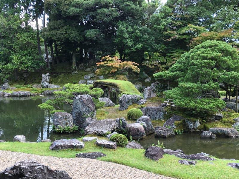Japanese zen rock garden at Daigo-ji temple, Kyoto. In summertime stock photos