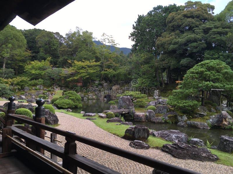 Japanese zen rock garden at Daigo-ji temple, Kyoto. In summertime royalty free stock image