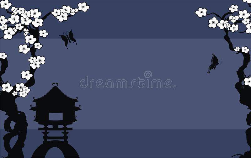 Japanesse asian tree background postal royalty free illustration
