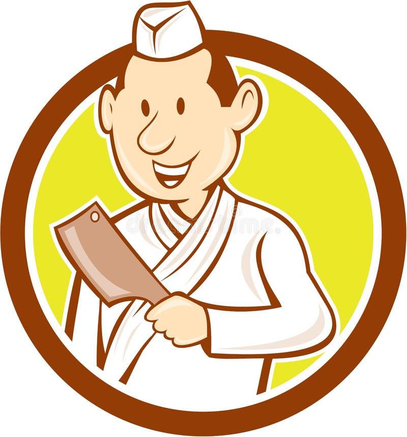 Japanische Chef-Koch-Meat Cleaver Circle-Karikatur vektor abbildung