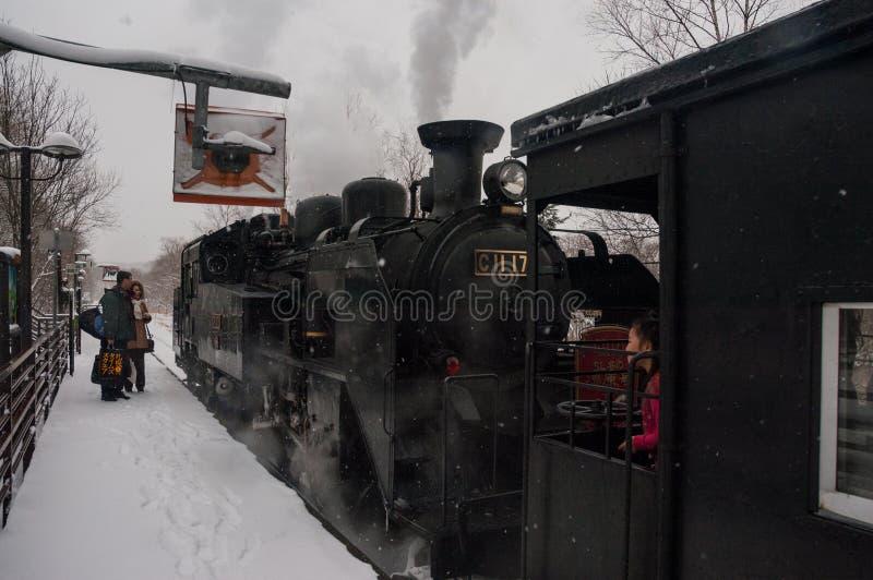 Japanische Dampflokomotive im Winter lizenzfreies stockbild