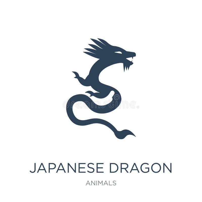 japanische Dracheikone in der modischen Entwurfsart japanische Dracheikone lokalisiert auf weißem Hintergrund japanische Dracheve lizenzfreie abbildung