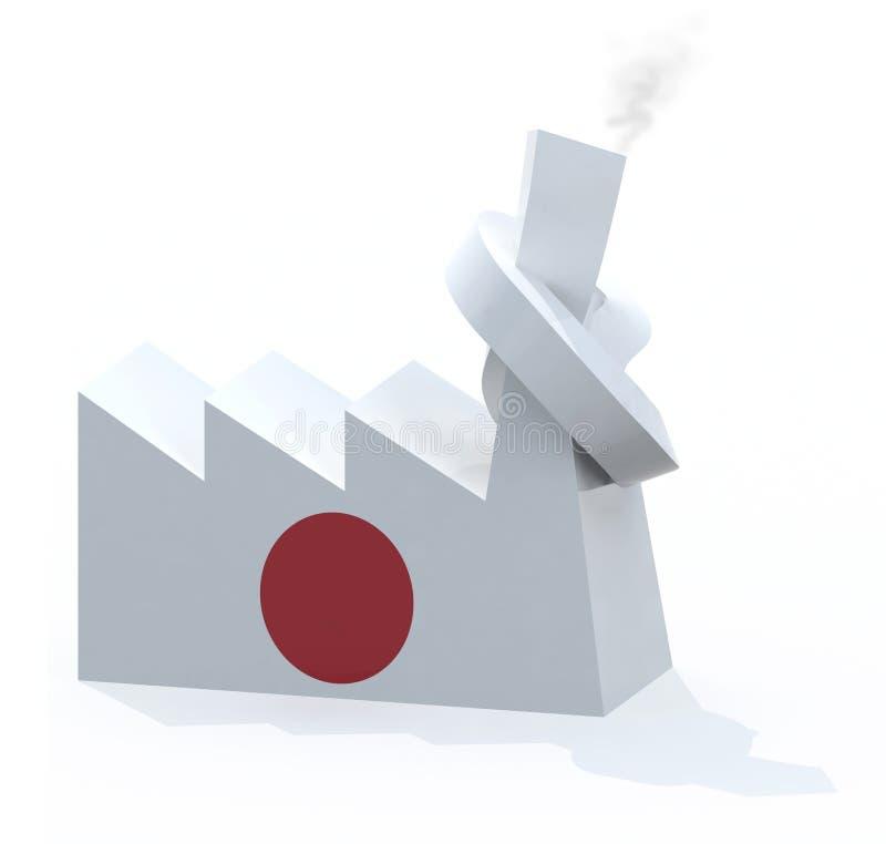 Japanische Fabrik mit dem Kamin geknotet lizenzfreie abbildung