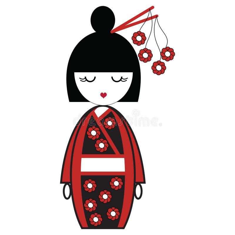 Japanische Geishapuppe mit schwarzem und rotem Kimono mit den Blumen angespornt und Stock im Haar durch asiatische Kultur vektor abbildung