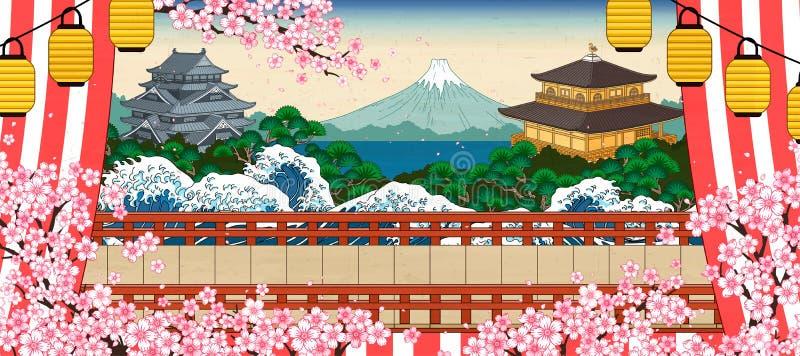 Japanische historische Landschaft stock abbildung